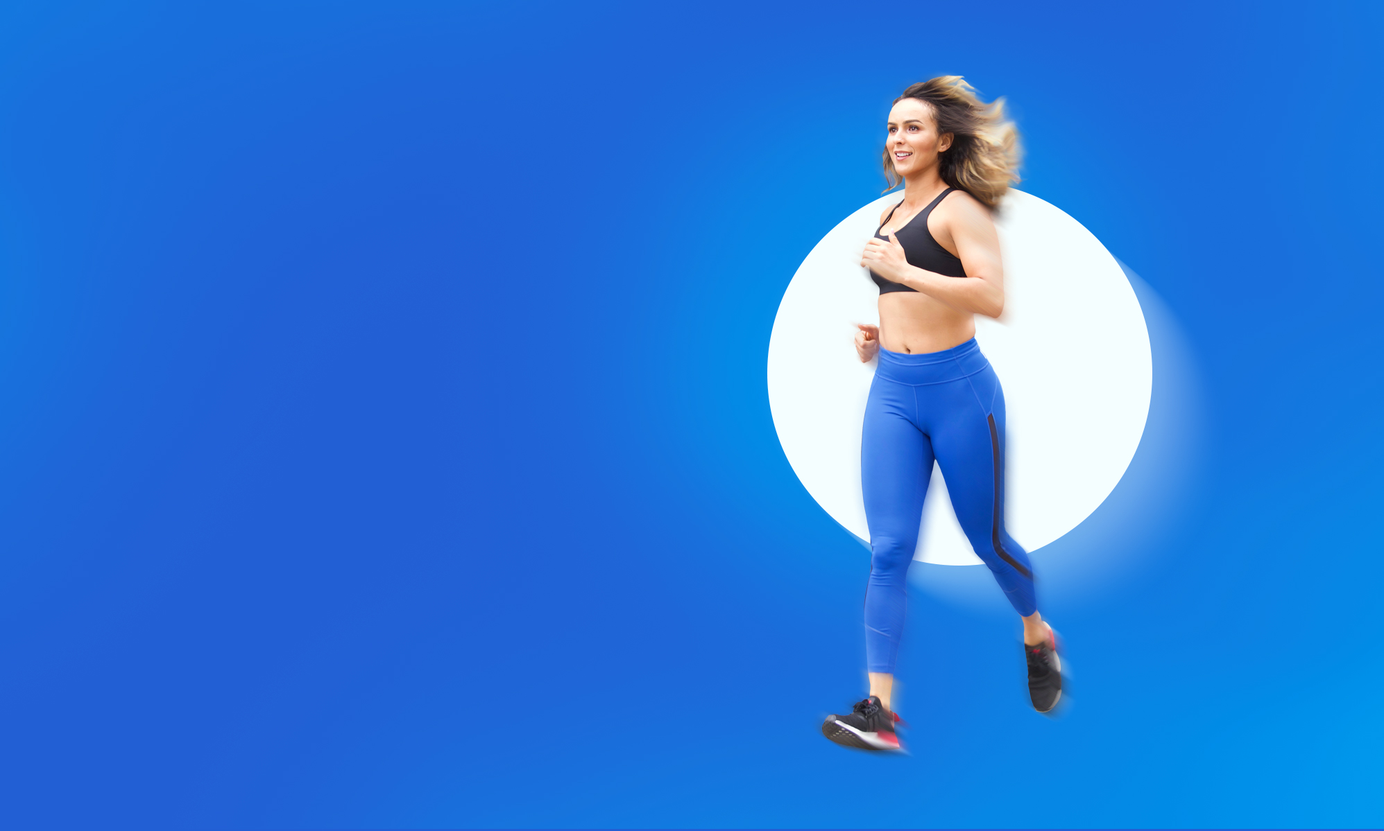 Moroccan woman on blue background running