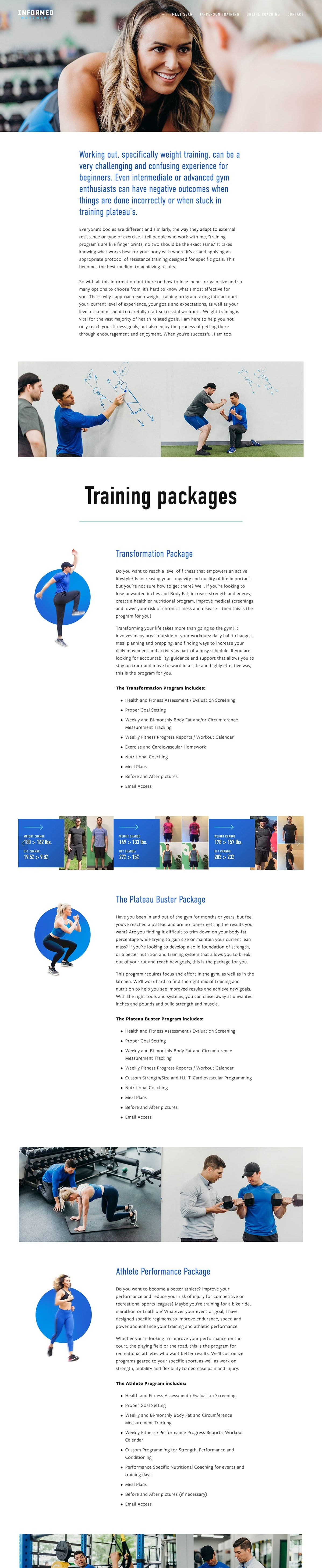 Informed movement website packages page