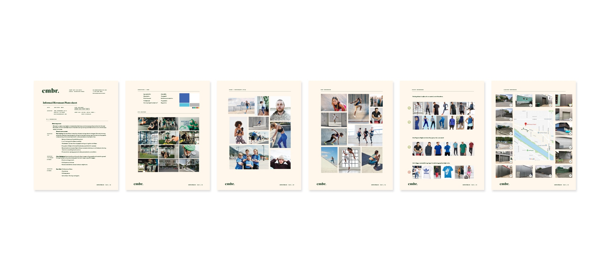 pages from a photography brief
